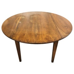 Large 19th Century French Solid Walnut Circular Dining Table