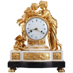 18th Century Louis XVI Ormolu and Marble Desk Clock by d'Etour in Paris