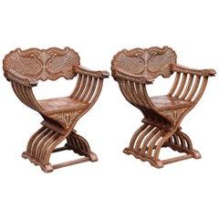 Pair of 20th Century Solid Teak Wood Exquisitely Inlaid Savonarola Style Chairs