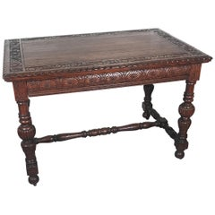 Carved Dark Oak Library Table