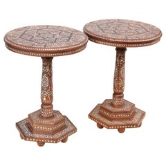 20th Century Handcrafted and Inlaid Solid Teak Wood Round Side Tables
