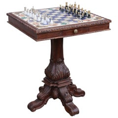 Marble Chess Table Inlaid with Semiprecious Stones and with Silver Chessmen