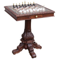 Unique Semi-Precious Stone Inlaid Marble Chess Table with Silver Chessmen