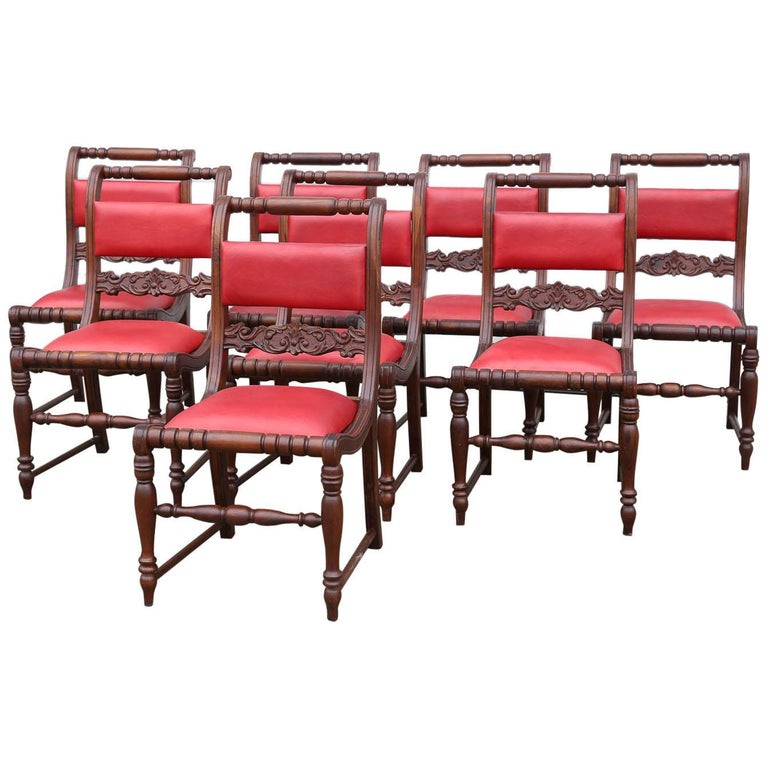 Superbly Crafted Stylized Modern Teak Wood and Fine Leather Dinning Chairs For Sale