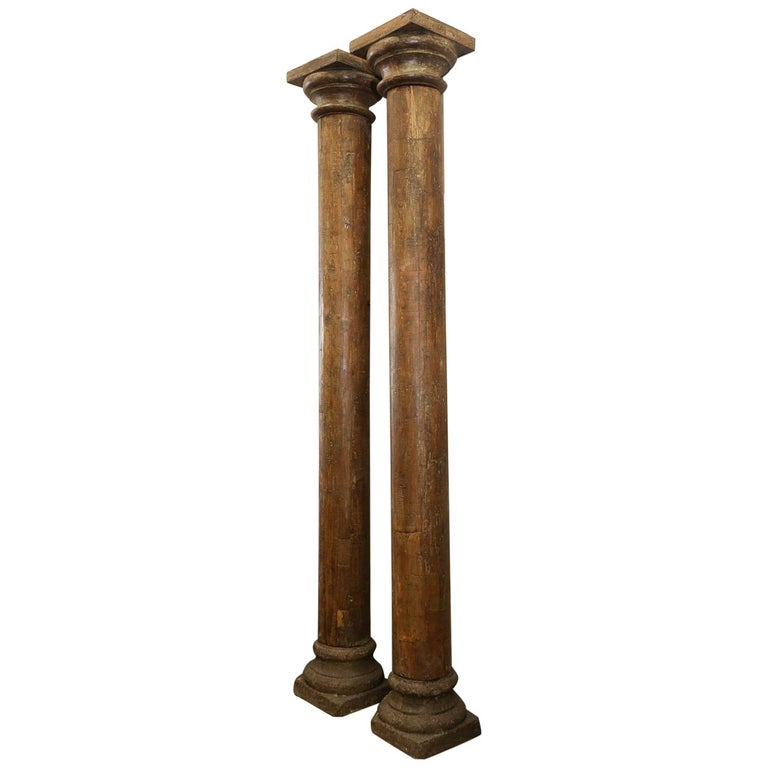 Tall Vintage Wooden Load Bearing Columns For Sale