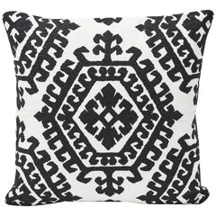Schumacher Omar Embroidered Medallion Black and White Pillow, 1stdibs New York