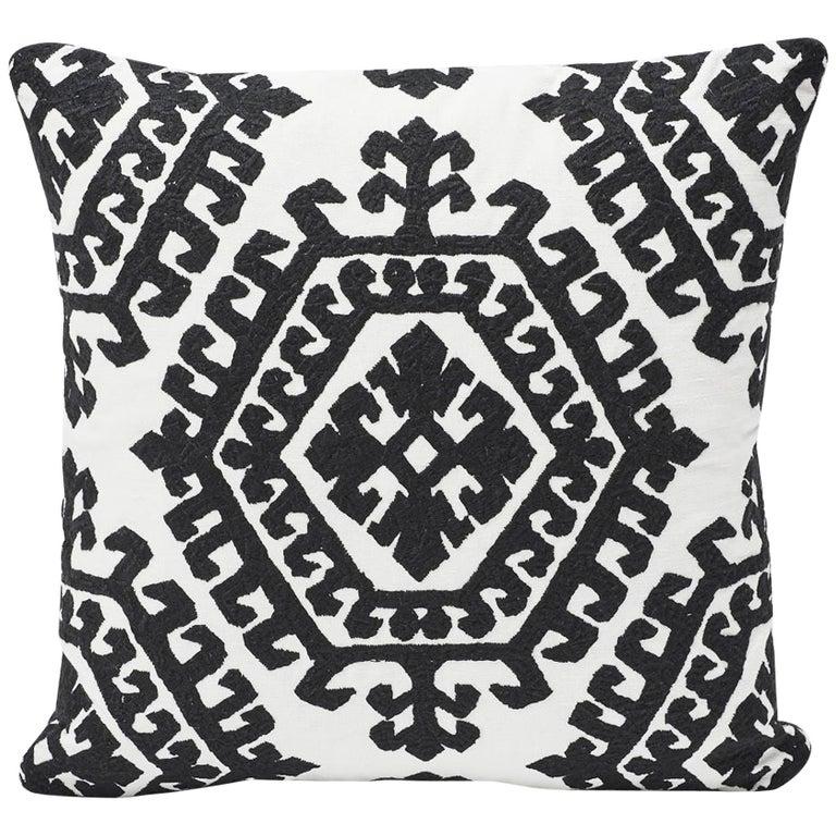 Schumacher Omar Embroidered Medallion Black and White Pillow, 1stdibs New York For Sale