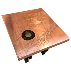 Rare Pair of Polished Acid Etched Copper End Tables by Lova Creation