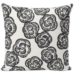 Schumacher Vogue Living Mona Floral Blackwork Pillow, 1stdibs New York