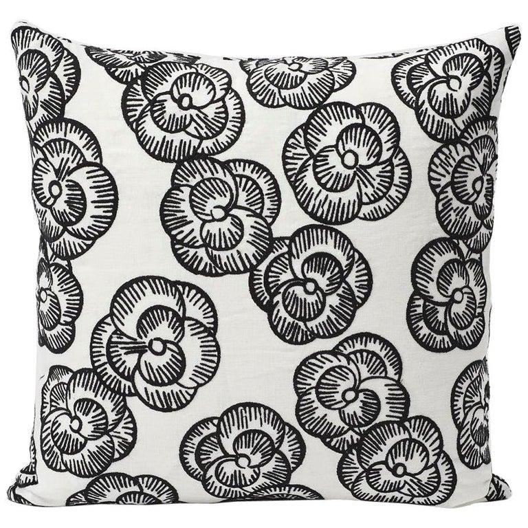 Schumacher Vogue Living Mona Floral Blackwork Pillow, 1stdibs New York For Sale