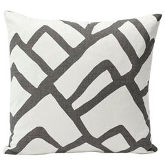 Schumacher Zimba Large Scale Graphic Charcoal White Pillow, 1stdibs New York