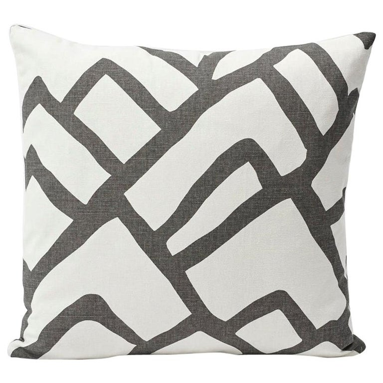 Schumacher Zimba Large Scale Graphic Charcoal White Pillow, 1stdibs New York For Sale