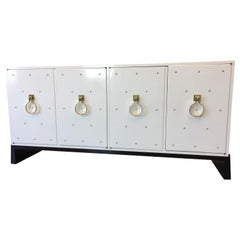 Parzinger Original White Lacquered Studded Cabinet