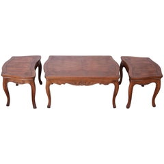 Baker Furniture French Carved Burl Wood Coffee Table and End Tables, 3-Piece Set