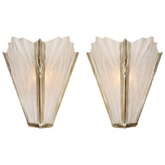 French Deco Frosted Geometric Glass Sconces