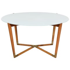Italian Mid-Century Modern Light Walnut, Brass, and Glass Coffee Table
