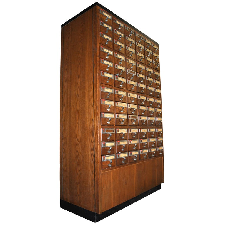 Vintage Midcentury Library 72 Drawer Walnut Card File Cabinet For