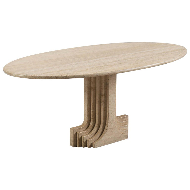 Carlo Scarpa Dining Table in Travertine For Sale