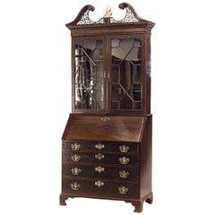English Chinese Chippendale Style Lattice Design Secretary