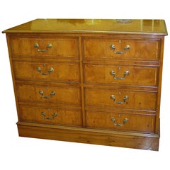 English Bench-Made Reprod, Inlaid Pippy Yew-Wood Four-Drawer File Chest
