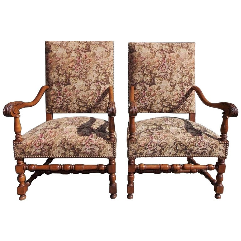 Pair of Italian Neoclassical Walnut Acanthus Upholstered Armchairs, Circa 1850 For Sale