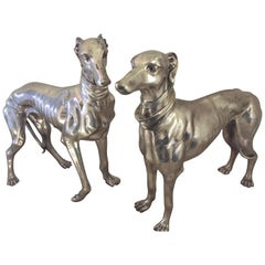Pair of French Bronze Nickel Greyhound Dog Monumental