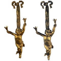 Pair of Louis XV Style Two-Light Wall Sconces Modelled as Children Sgn. J Cheret