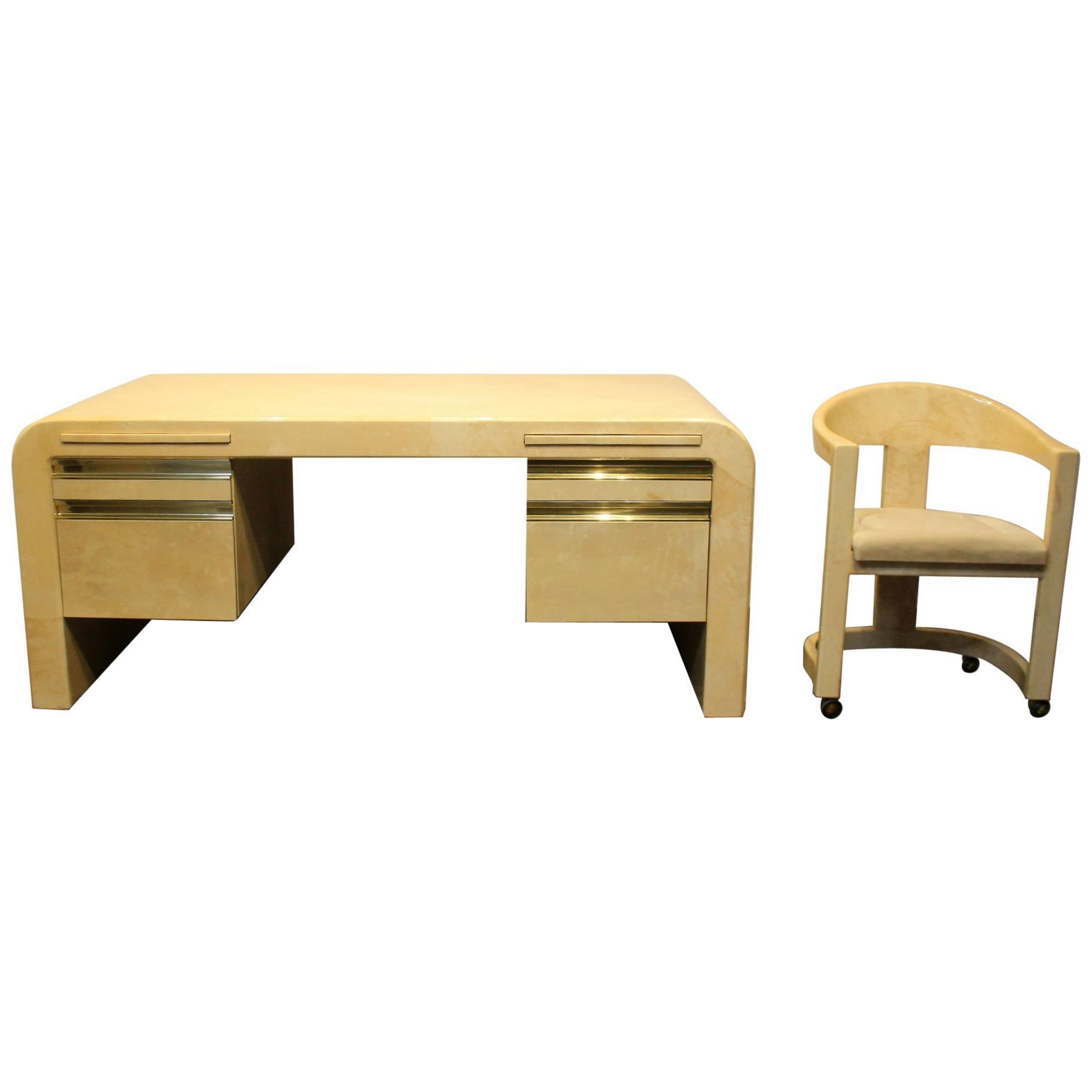 1970s Karl Springer Mid Century Modern Lacquered Goat Skin Desk And Chair At 1stdibs