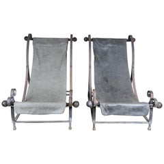 Pair of Midcentury Industrial Sling Style Lounge Chairs with Leather Seats