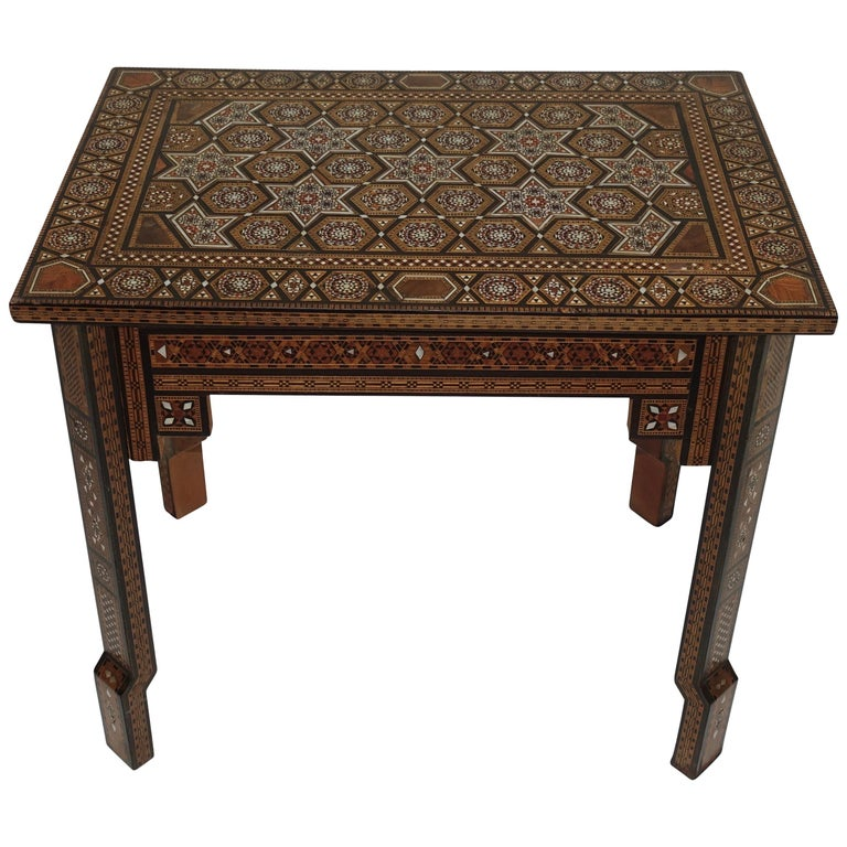 Syrian Geometric Inlaid Side Table, circa 1950 For Sale
