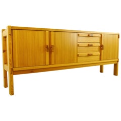 Architectural Scandinavian Vintage Sideboard in Pine 1970s Honey Colored
