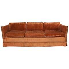 MC Hollywood Regency Burnt Orange Velvet Tuxedo Sofa Bronze Tone Nailhead Trim