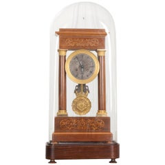Fine 19th Century Marquetry-Inlaid Satinwood and Gilt-Bronze Portico Clock