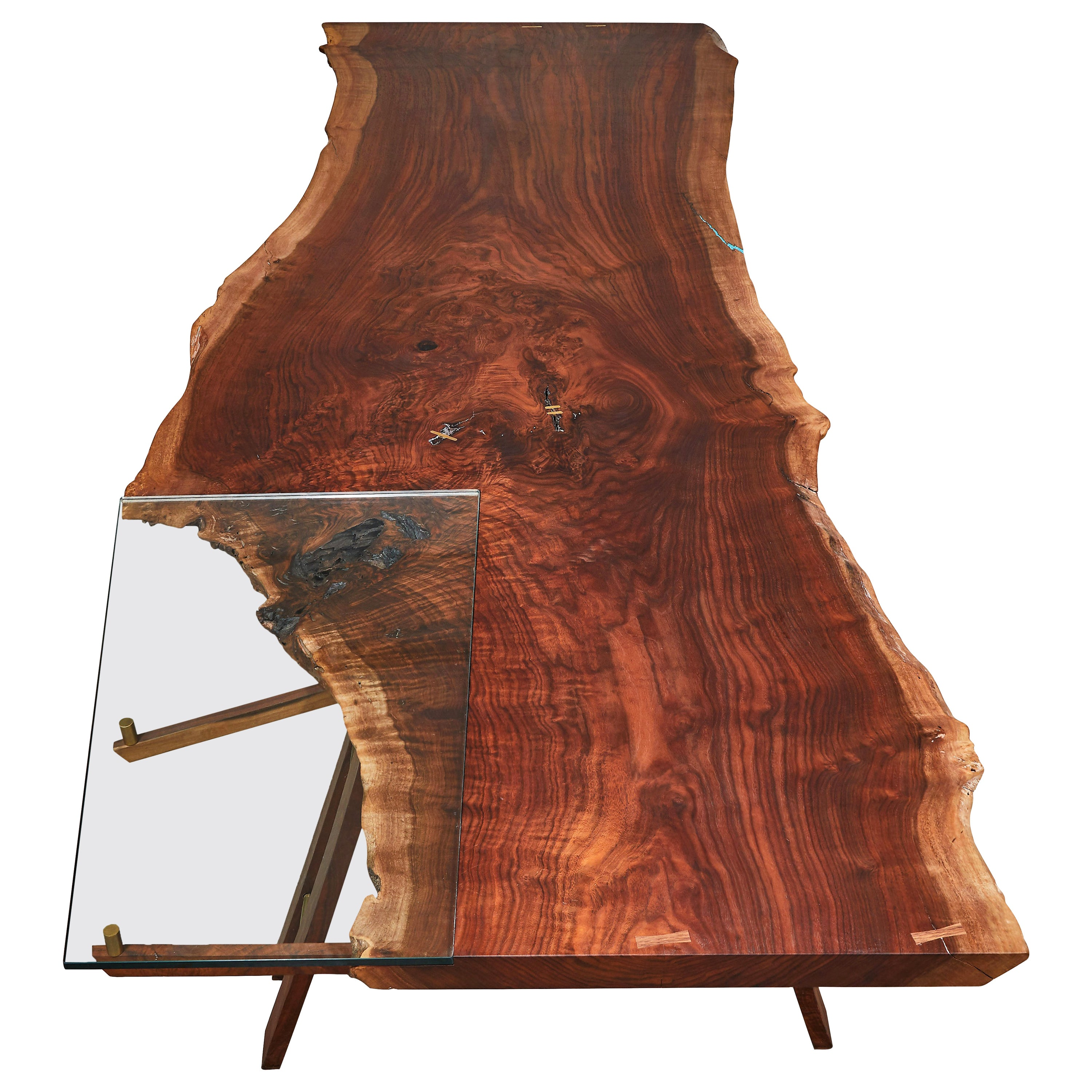 Live Edge Oiled Claro Walnut Slab with Glass Extension Table by Casey McCafferty