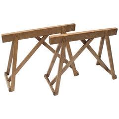 Antike Holzsäge Pferd Tischgestell