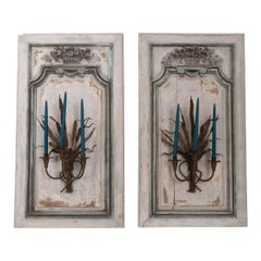 Pair of French Louis XV Hand Painted and Carved Oak Boiserie Panels