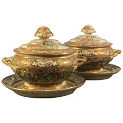 Pair of Chinese Export Covered Sauce Tureen with Underplates