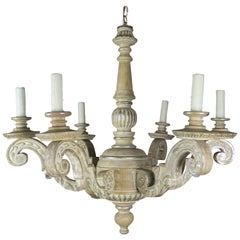 Carved Wood Italian Painted and Silver Gilt 6-Light Chandelier