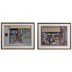 Pair of Chinese Export Watercolors of Clock Shop and Produce Market