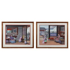 Pair of Chinese Export Framed Watercolors