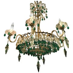 Chandelier with Emerald Drops, Murano, 1950