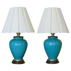 Striking American Turquoise Crackle-Glaze Ceramic Lamps, Frederick Cooper, Pair