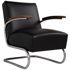 Thonet Modern Leather Armchair, Germany, circa 1930