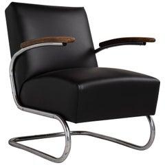 Thonet Moderner Leder Sessel, Deutschland, circa 1930