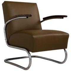 Thonet Modern Leather Armchair, Germany, circa 1930