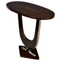 Pair of French Art Deco Oval Side Tables in Walnut