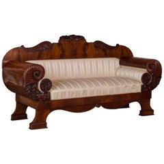 Antique Mahogany Biedermeier Sofa with Dramatic Carved Cornucopia Arms