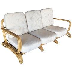Restored Paul Frankl Original Wrap around 3-Seat Sofa with 3-Pole Rattan Design