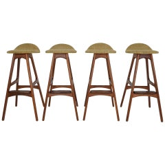 Set of Four Bar Stools, Model OD61, Designed by Erik Buch, 1960s