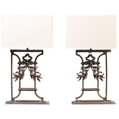 Pair of Custom Lamps Antique French Cast Iron Mounts, circa 1870